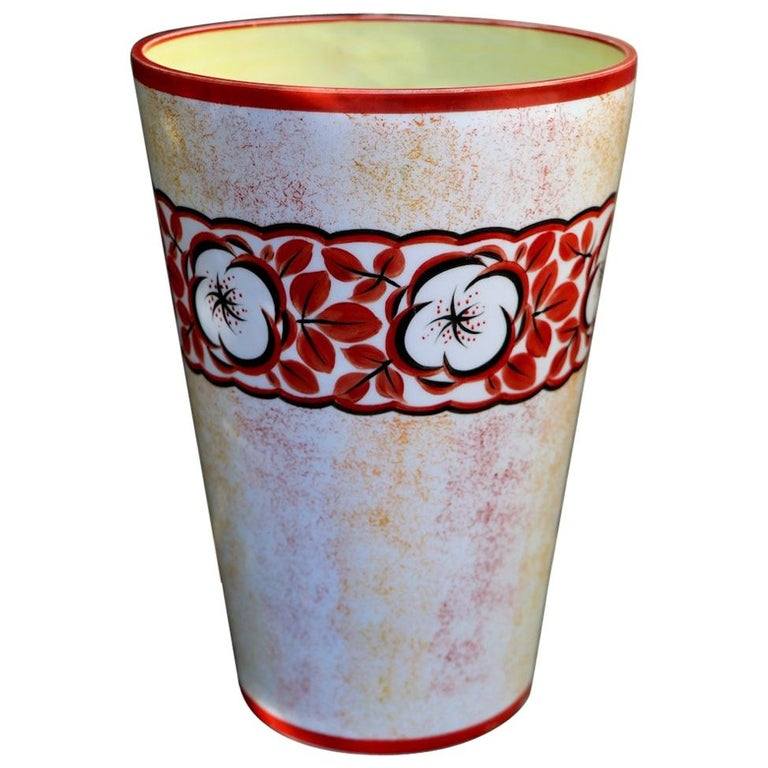 Hand Painted Art Deco Czechoslovakian Flower Vase For Sale