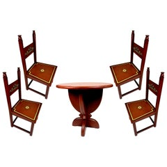 Hand Painted Art Deco Dining Set, with 4 Chairs, 1930s
