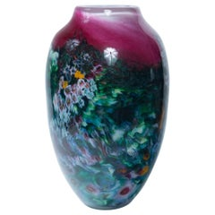 Hand Painted Art Glass Vase, Signed and Dated