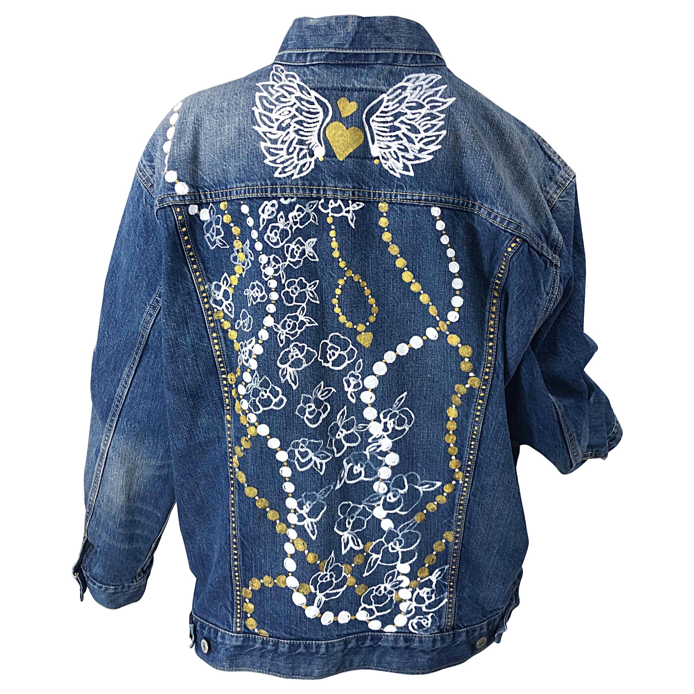 Hand Painted Artist Angel Wings Pearls OOAK Vintage Denim Blue Jean Jacket L/ XL