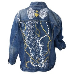Hand Painted Artist Angel Wings Pearls OOAK Vintage Denim Blue Jean Jacket L/ XL