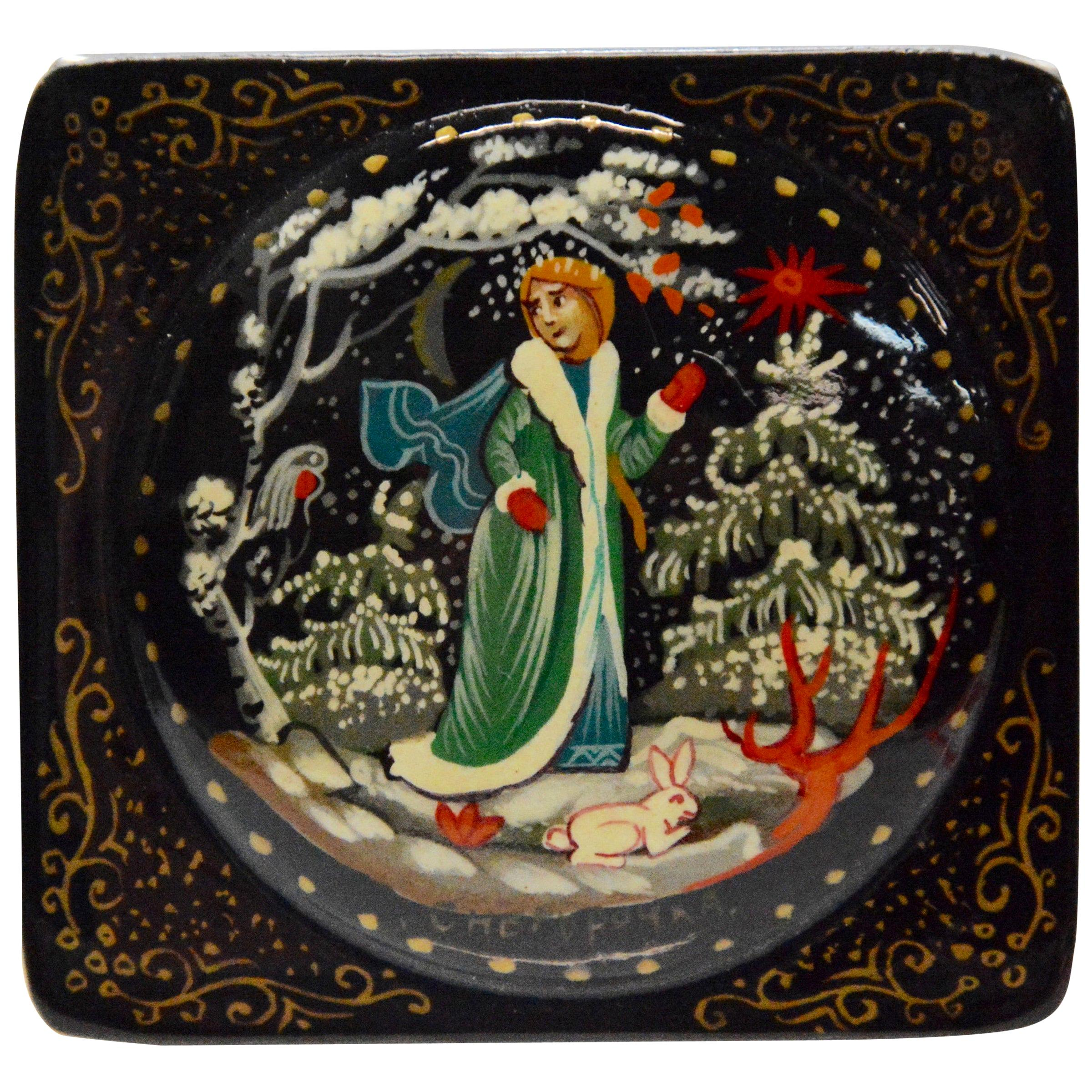 Hand Painted Artist Signed Wooden Russian Lacquered Box
