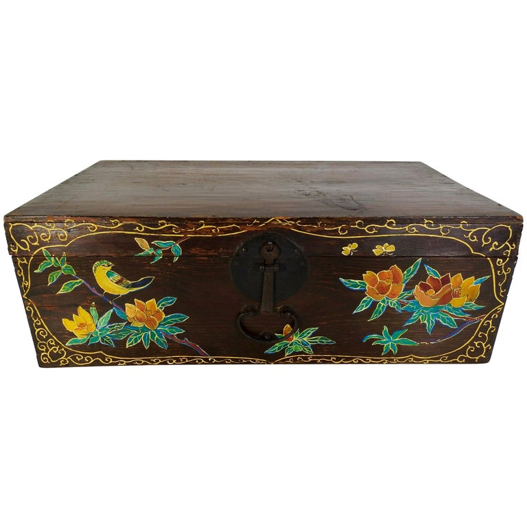 Hand Painted Asian Trunk, 19th Century For Sale