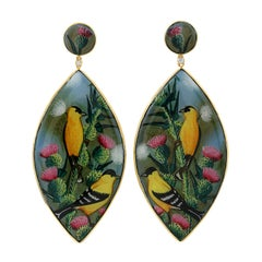Hand Painted Bakelite Earring in 18K Gold with Diamonds