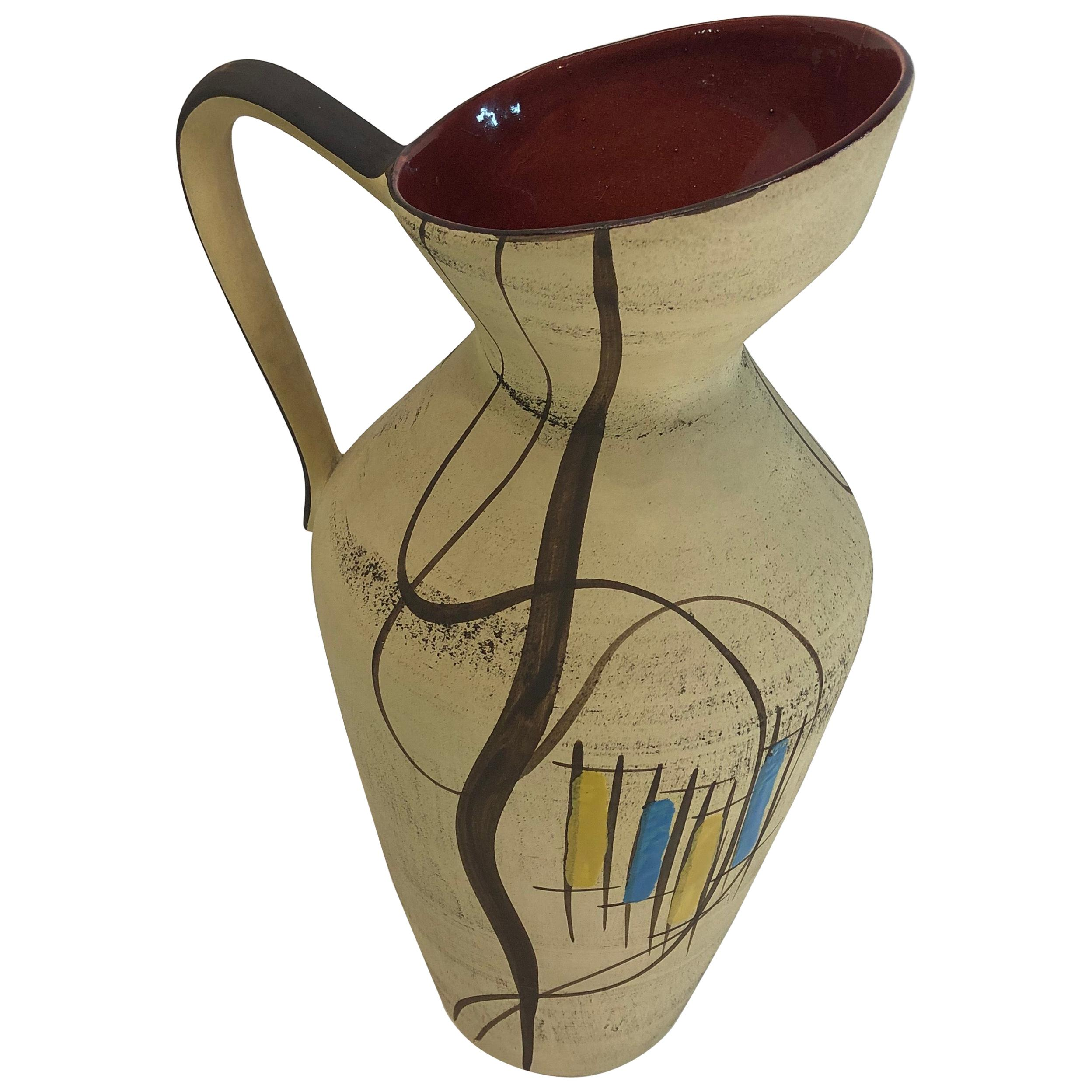 Hand Painted Bay Ceramic Pitcher/Vase, West-Germany by Bodo Mans, 1950