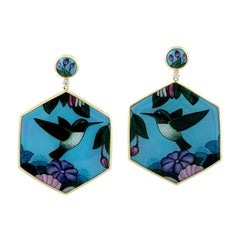 Hand Painted Bird Bakelite Earring in 18k Yellow Gold