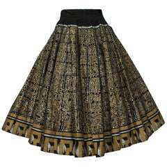 Hand Painted Black and Gold Aztec Mexican Circle Skirt - Jácome Estate, 1950s