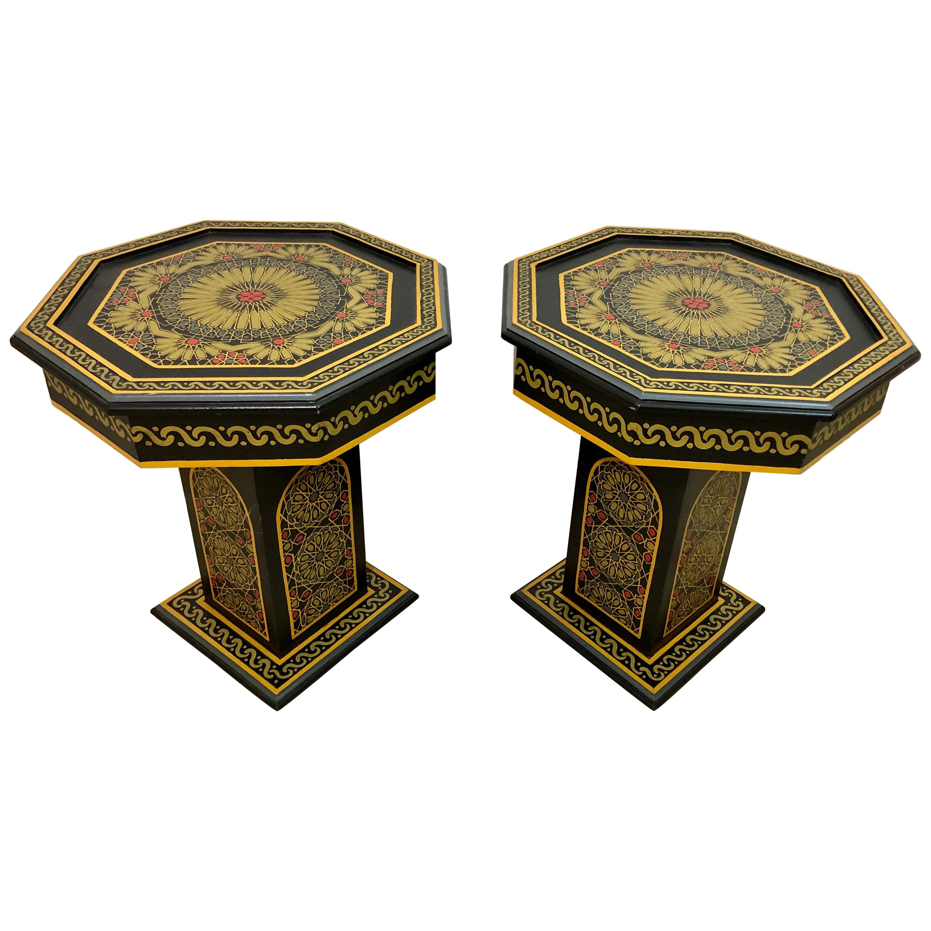Moroccan End, Side or Lamp Tables Hand Painted in Black and Gold, a Pair