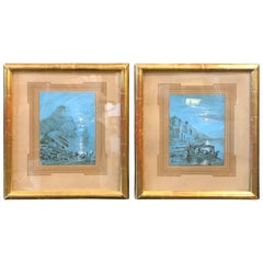 Hand-Painted Blue Neapolitan Gouaches in Gilded Wood French Frames Dated 1878