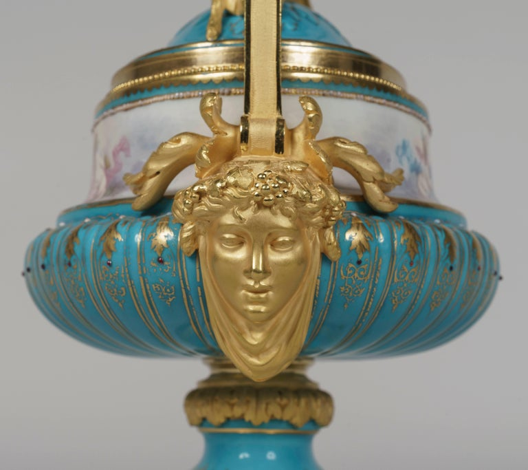 French Hand Painted Blue Porcelain and Gilt Bronze Centerpiece in the Louis XVI Style For Sale