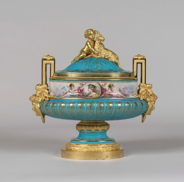 19th Century Hand Painted Blue Porcelain and Gilt Bronze Centerpiece in the Louis XVI Style For Sale