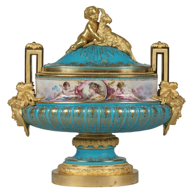 Hand Painted Blue Porcelain and Gilt Bronze Centerpiece in the Louis XVI Style For Sale