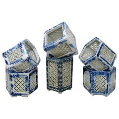 Hand Painted Blue White Japanese Chinese Reticulated Hexagonal Porcelain Vases