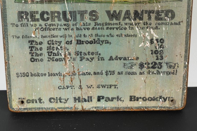 Folk Art Hand Painted Broadside Recruits Wanted sign from Brooklyn For Sale