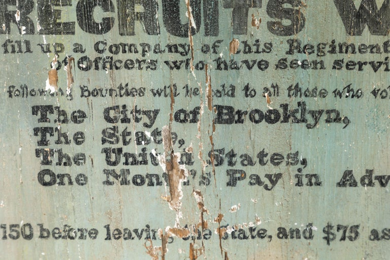 American Hand Painted Broadside Recruits Wanted sign from Brooklyn For Sale