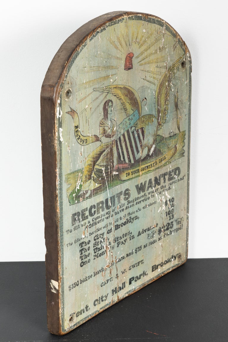 19th Century Hand Painted Broadside Recruits Wanted sign from Brooklyn For Sale
