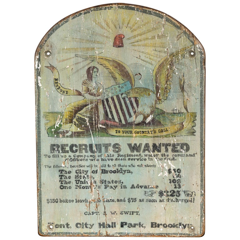 Hand Painted Broadside Recruits Wanted sign from Brooklyn For Sale