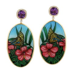 Hand Painted Butterfly and Flower Bakelite Earring in 18k Yellow Gold