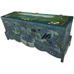 Hand-Painted Carved Chinoiserie Trunk