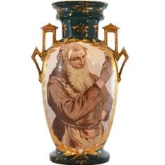 Hand-Painted Center Design Dark Green Gold Accents Vase