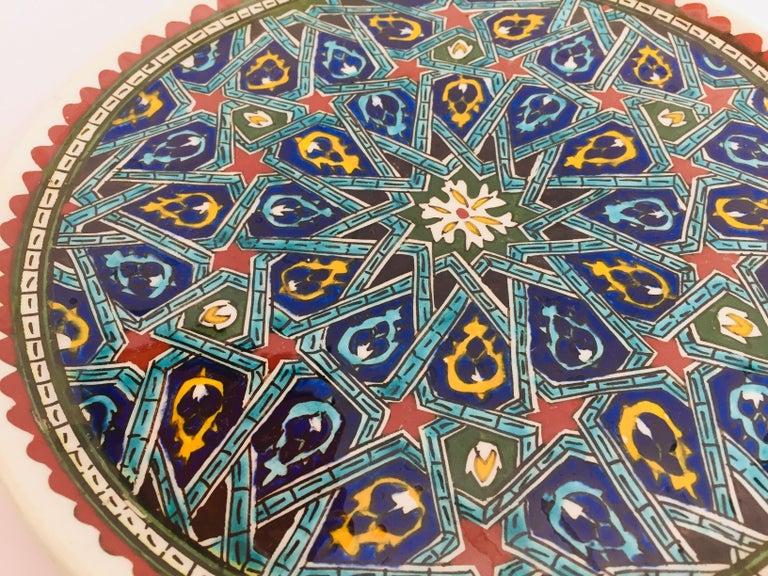 Hand Painted Ceramic Decorative Moorish Plate For Sale 4