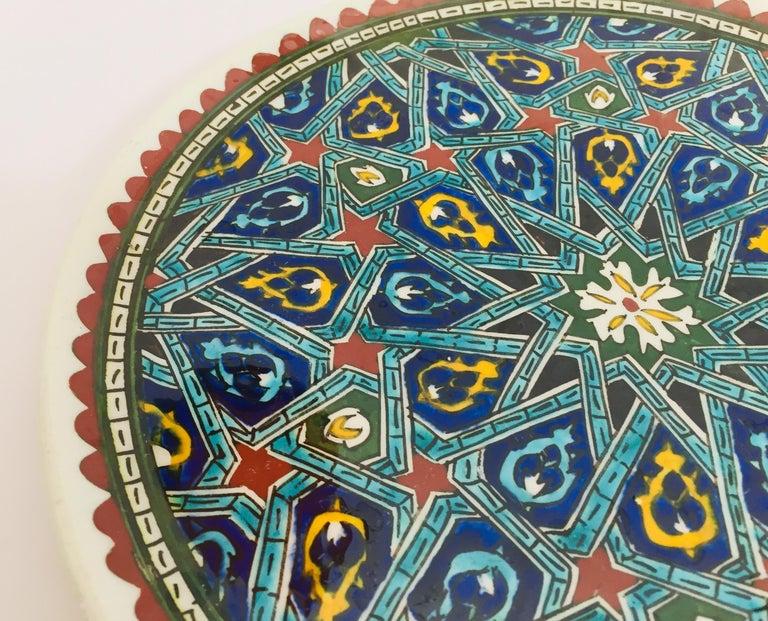 Hand Painted Ceramic Decorative Moorish Plate For Sale 5