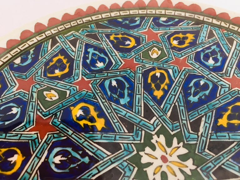 Hand Painted Ceramic Decorative Moorish Plate For Sale 6