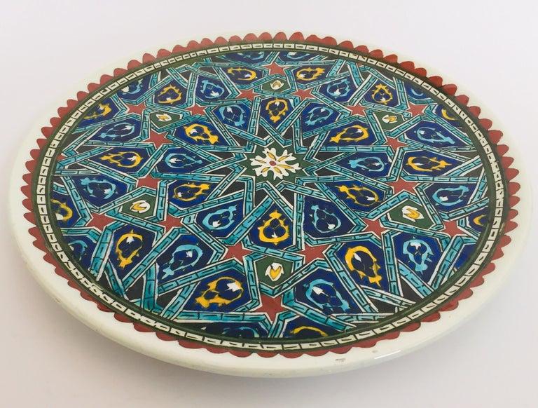 Turkish Hand Painted Ceramic Decorative Moorish Plate For Sale