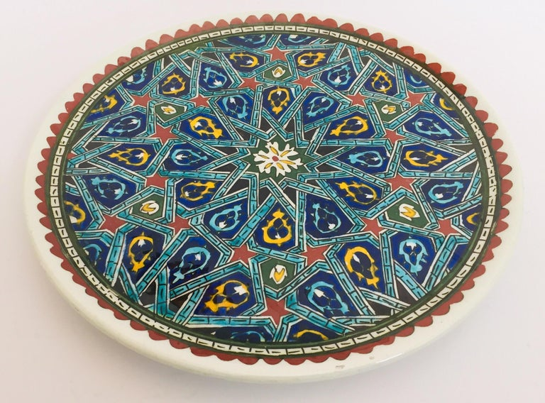 Hand-Painted Hand Painted Ceramic Decorative Moorish Plate For Sale