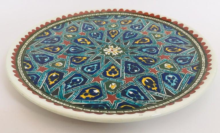 20th Century Hand Painted Ceramic Decorative Moorish Plate For Sale