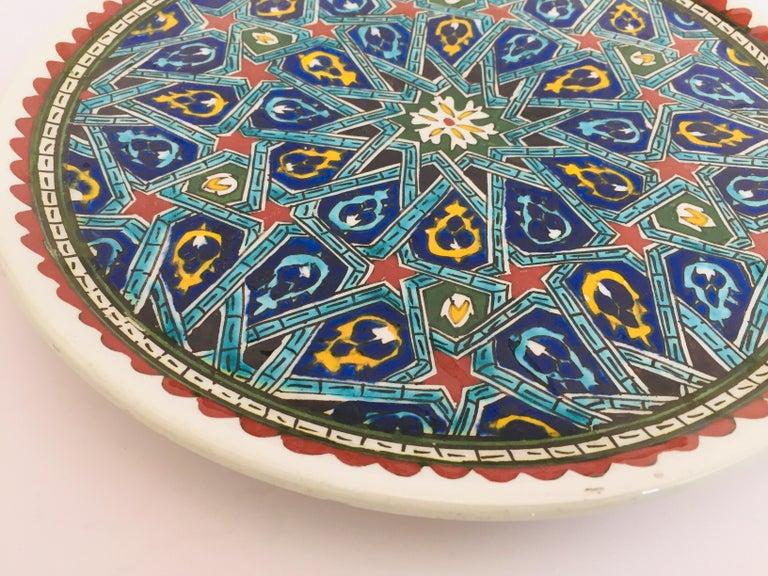 Hand Painted Ceramic Decorative Moorish Plate For Sale 1
