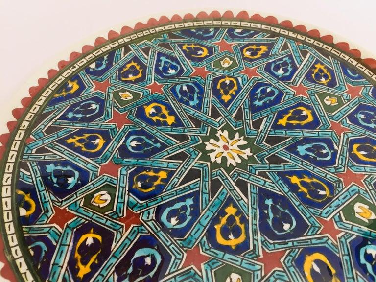 Hand Painted Ceramic Decorative Moorish Plate For Sale 2