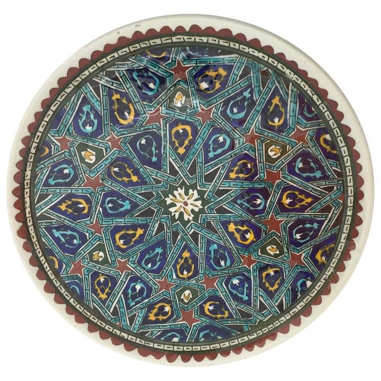 Hand Painted Ceramic Decorative Moorish Plate For Sale