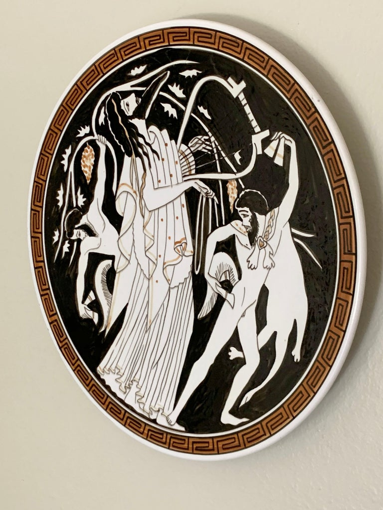 European Hand Painted Ceramic Greek Plate For Sale