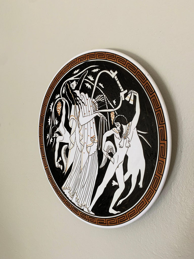 Hand Painted Ceramic Greek Plate For Sale 1