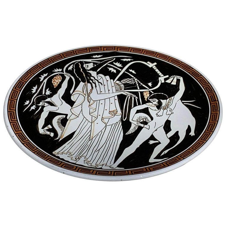 Hand Painted Ceramic Greek Plate For Sale