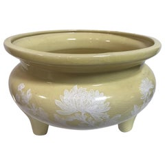Hand Painted Ceramic Muted Chartreuse Chinese Bowl