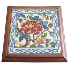 Hand Painted Ceramic Persian Tile Trivet Inset in Wooden Frame