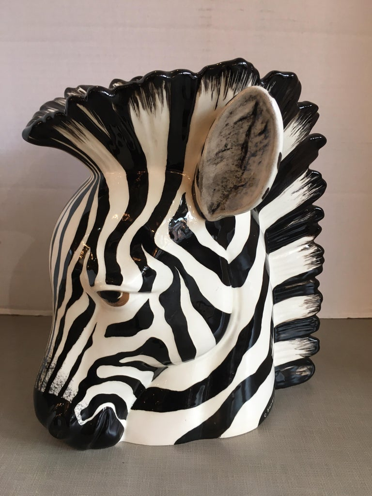 Hand painted ceramic zebra planter, signed by the artist. Great detail!