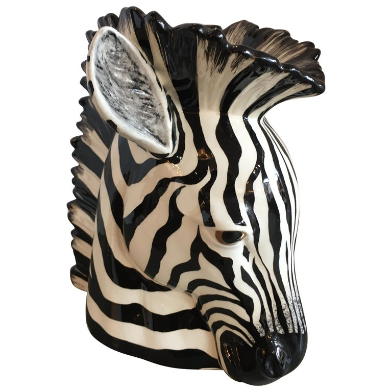 Hand Painted Ceramic Zebra Planter For Sale