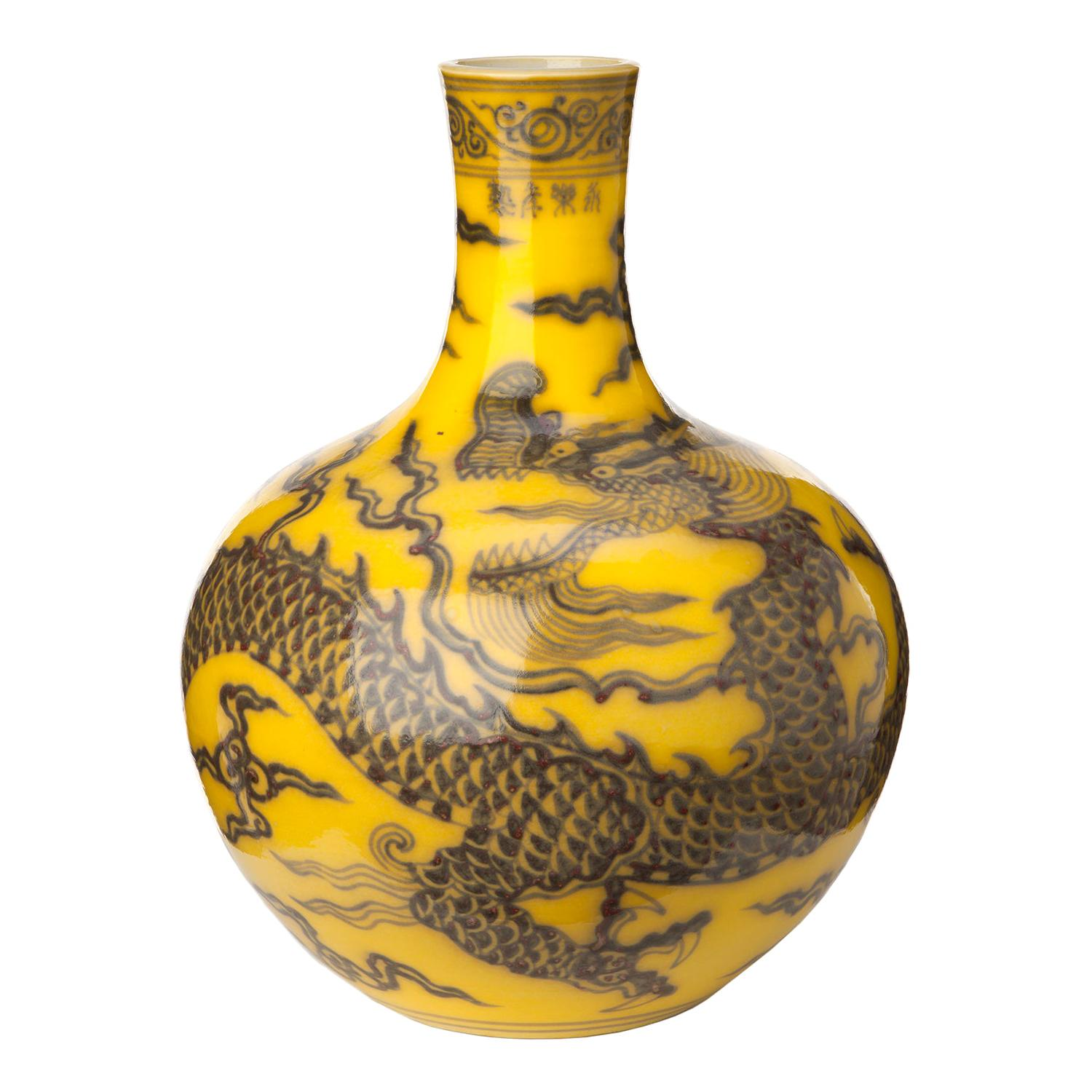 Hand Painted Chinese Dragon Vase