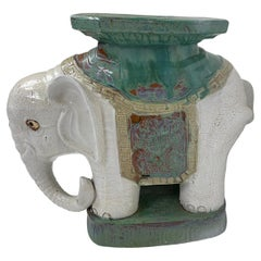 Hand Painted Chinese Elephant Garden Stool or Side Table