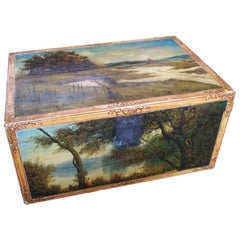 Hand Painted Chinese Export Trunk with European Landscape Scenes, 19th Century
