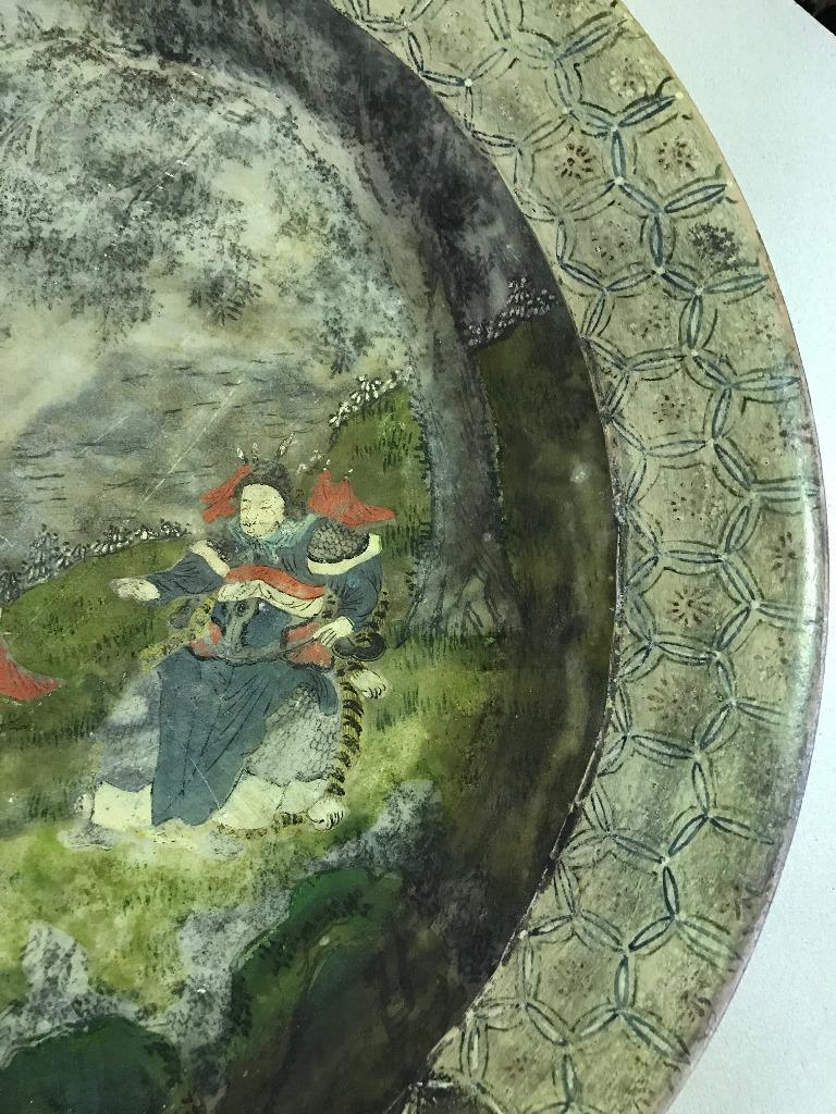 Chinese Hand Painted Marble Water Basin Bowl For Sale 2