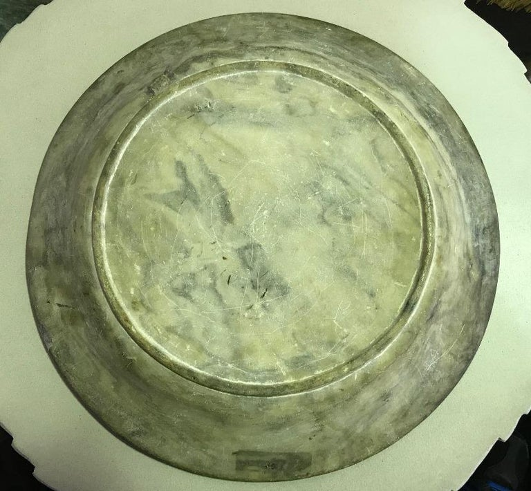 Chinese Hand Painted Marble Water Basin Bowl For Sale 4