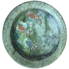 Hand Painted Chinese Marble Bowl Water Basin
