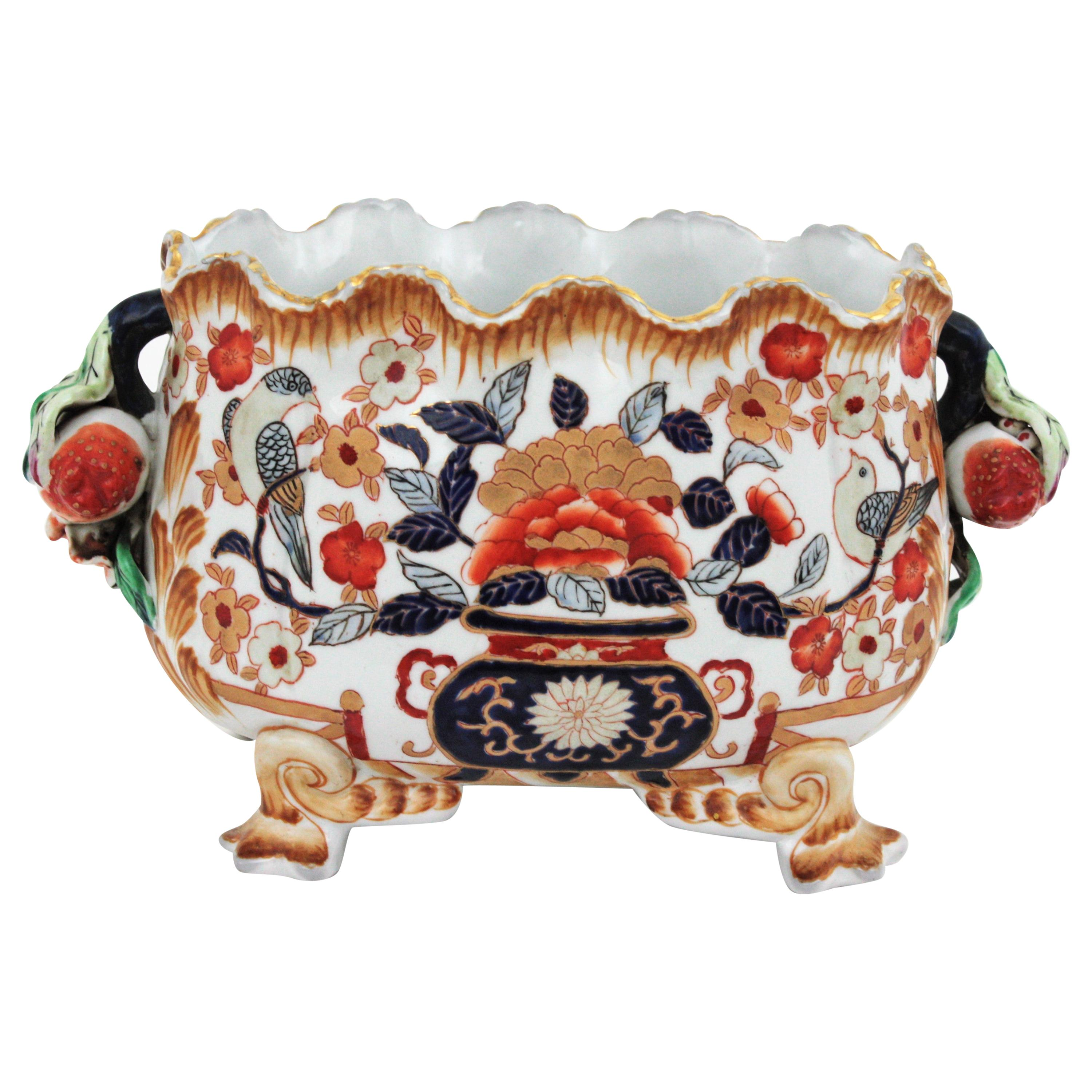 Hand Painted Chinese Porcelain Scalloped Centerpiece Footed Bowl, 1950s