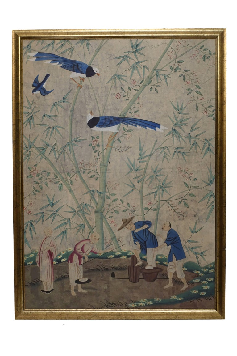 A framed Chinese wall paper panel, hand-painted with scene of birds, figures and bamboo. China, mid-20th century, circa 1960.