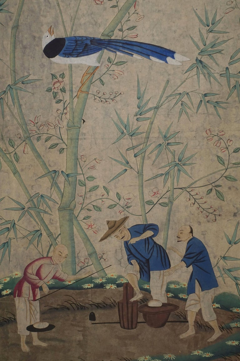 20th Century Hand-Painted Chinese Wall Paper Panel For Sale