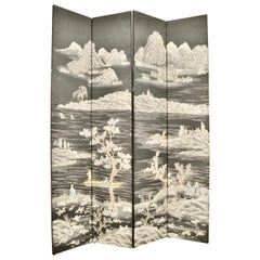 Hand Painted Chinoiserie 4-Panel Screen
